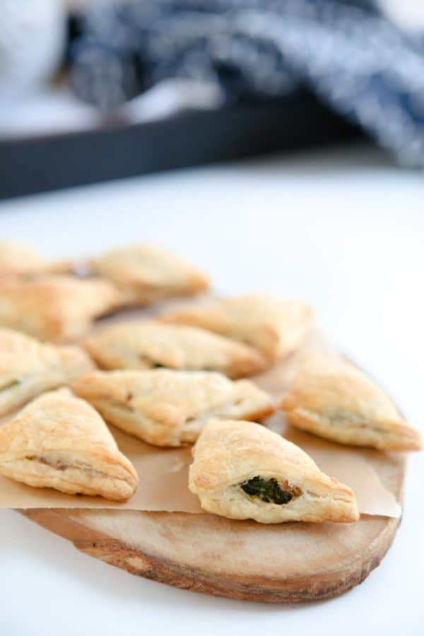 pastry turnovers on cutting board