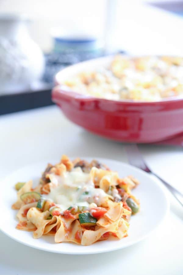 Chicken Cacciatore Noodle Bake on white plate