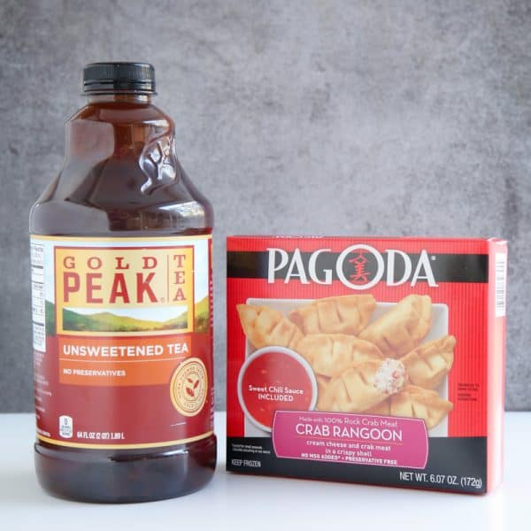 gold peak tea and pagoda crab rangoon