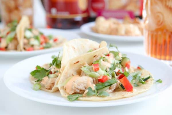 two chicken tacos on white plate white background