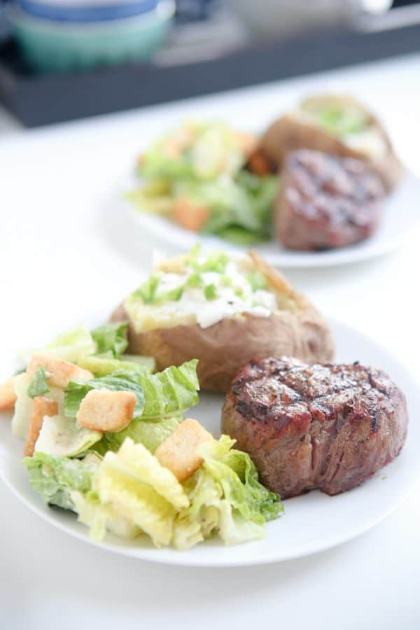 filet mignon and baked potatoes