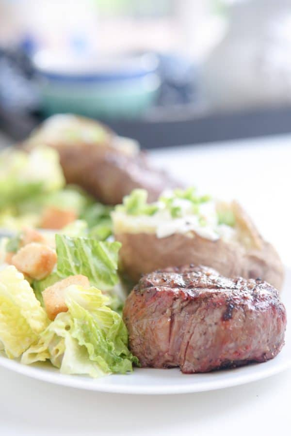 grilled filet mignon with caesar salad