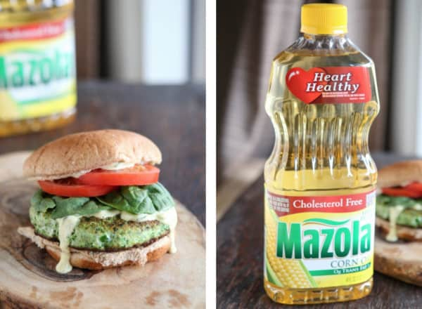picture of veggie burger and mazola corn oil