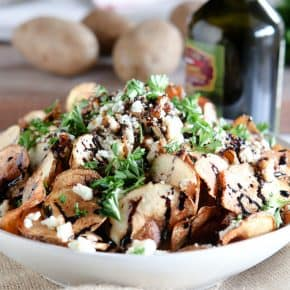 Homemade Potato Chips with Gorgonzola and Balsamic Reduction by Eclectic Recipes