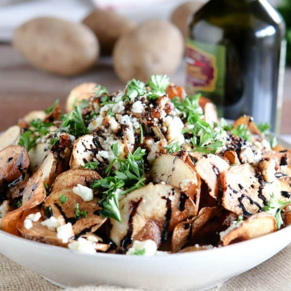 Homemade Potato Chips with Gorgonzola and Balsamic Reduction @EclecticEveryday