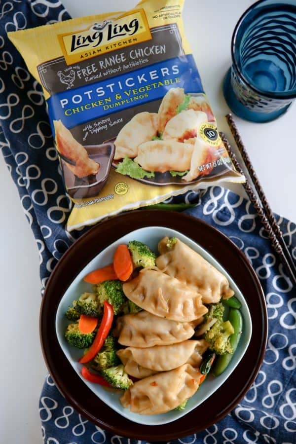 potstickers with ling ling bag