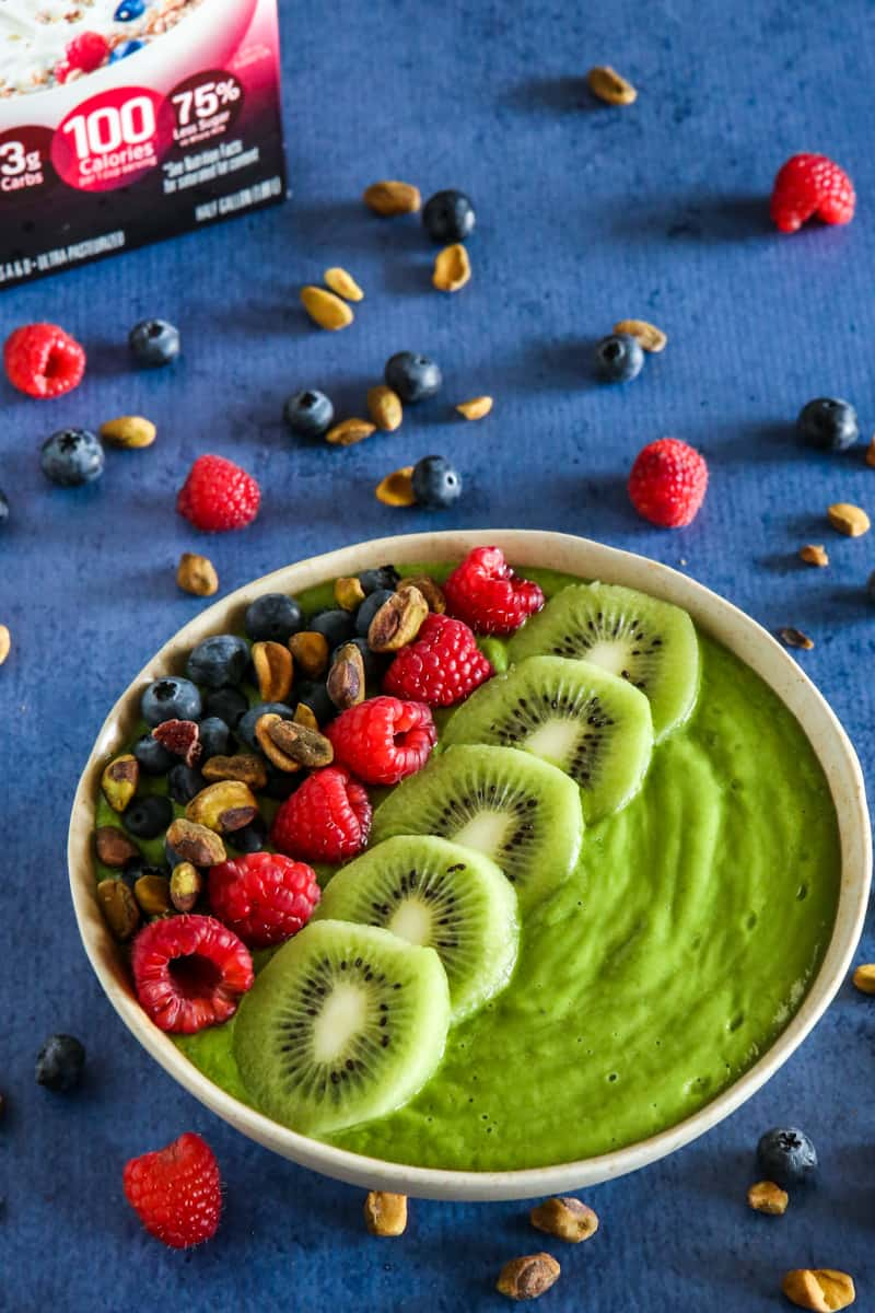 smoothie bowl blue background