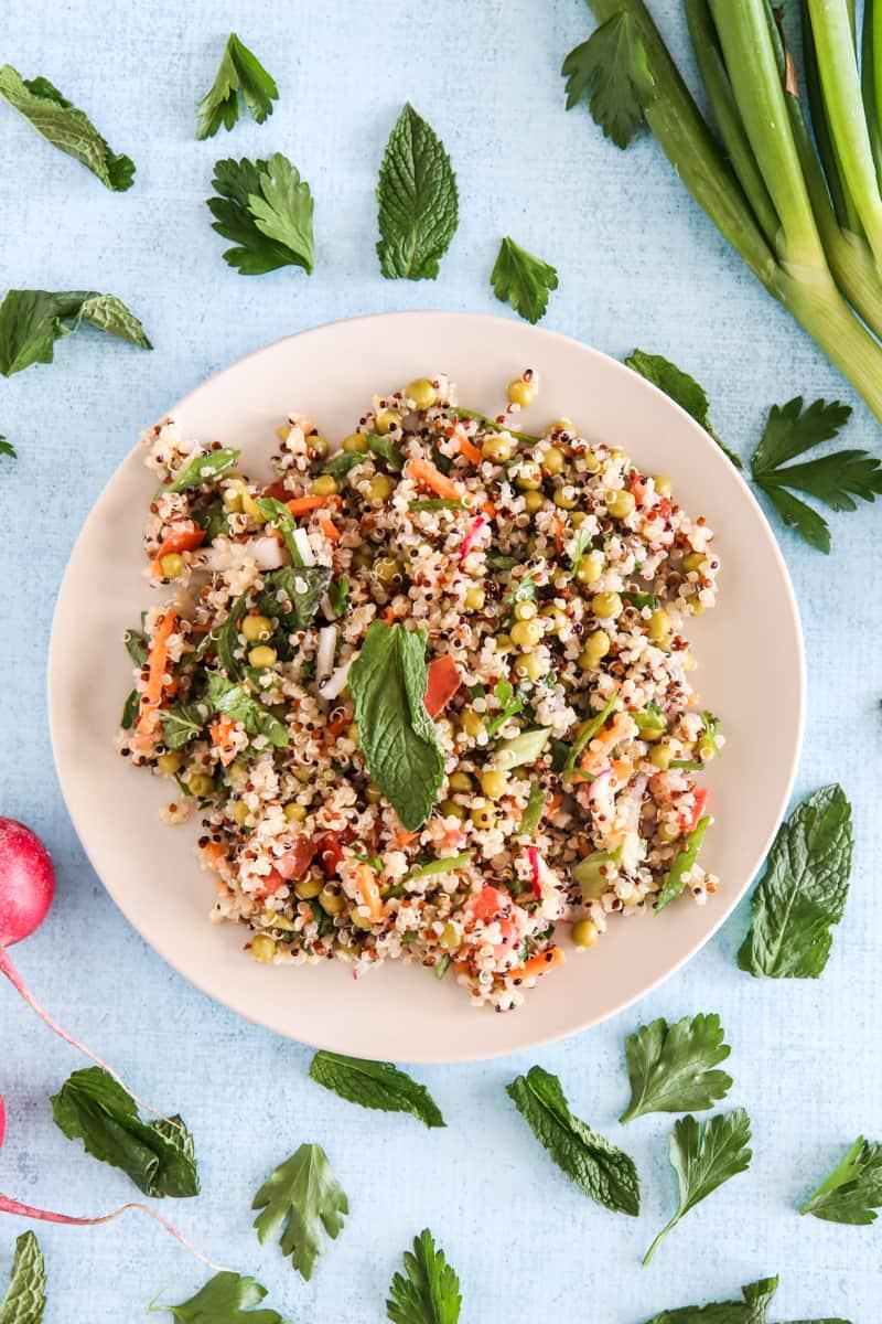 quinoa salad light blue background