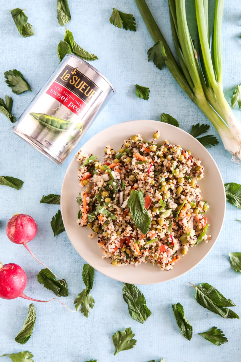 overhead view of quinoa salad with sweet peas and radishes light blue background