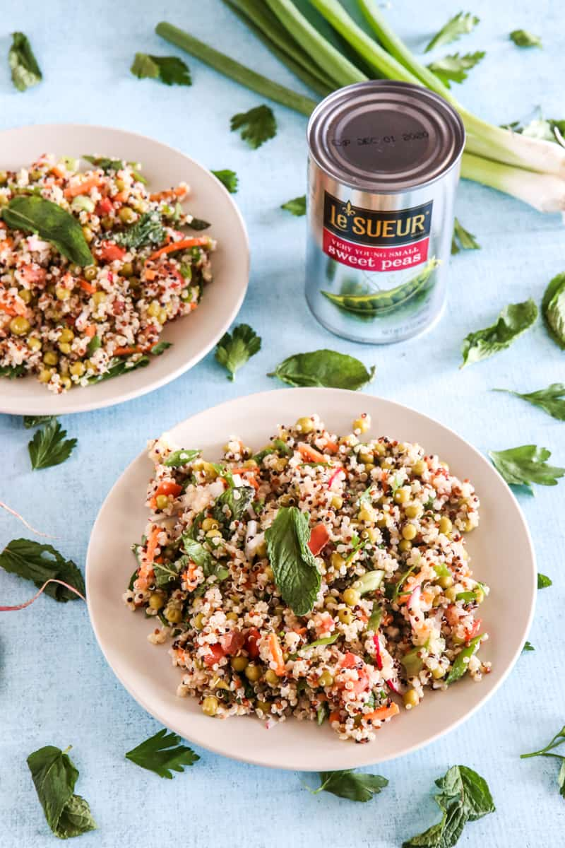 quinoa salad with can of sweet peas