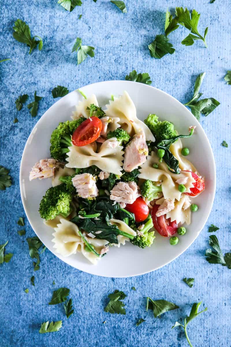 tuna salad on plate overhead view