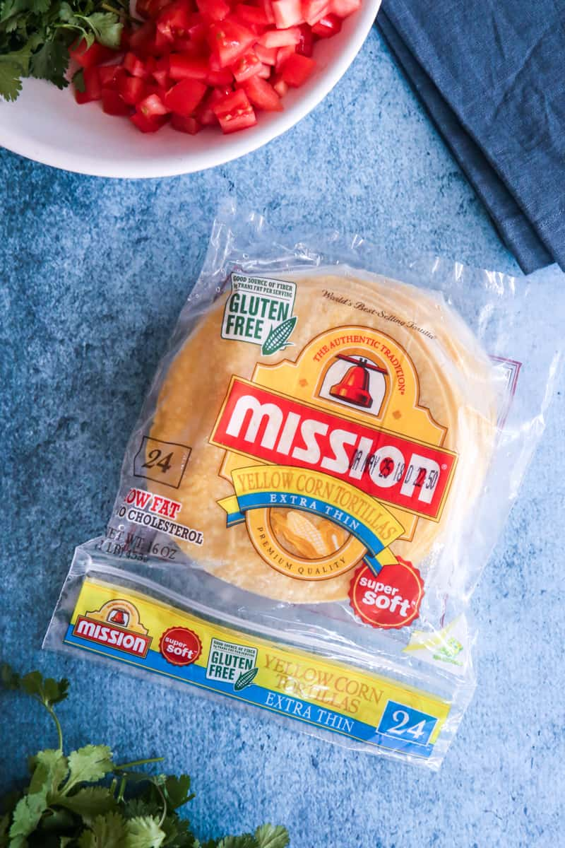 mission tortillas blue background