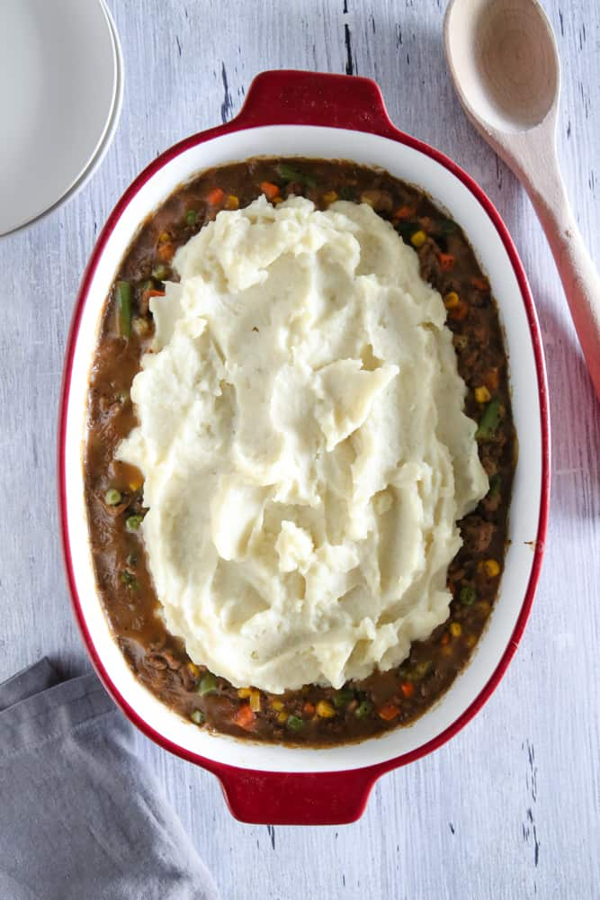 shepard's pie in red pan