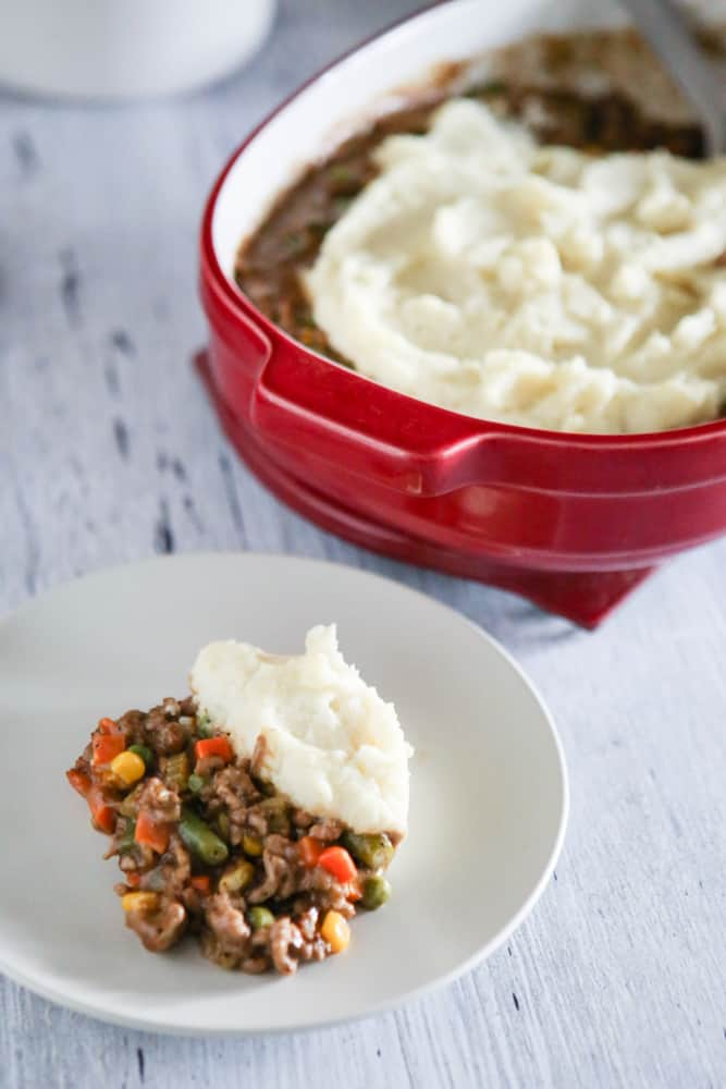 shepards pie on plate and in pan