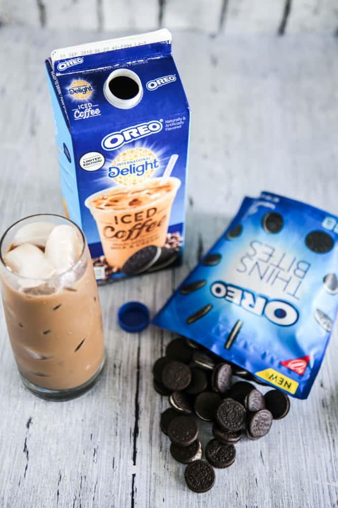 oreo iced coffee and oreo thin bites grey background