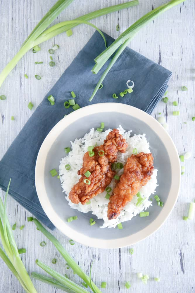 chicken on plate with rice