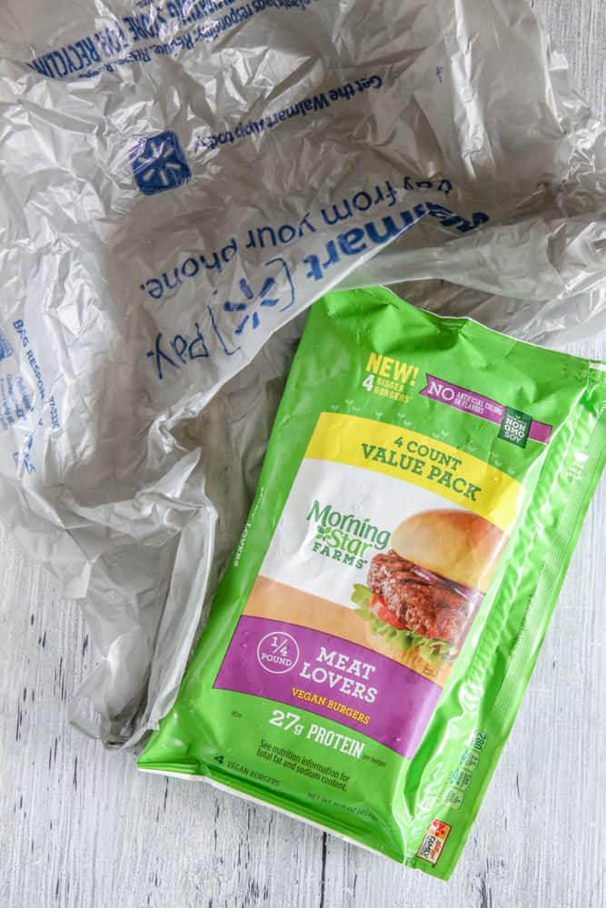 veggie burger pack next to walmart bag