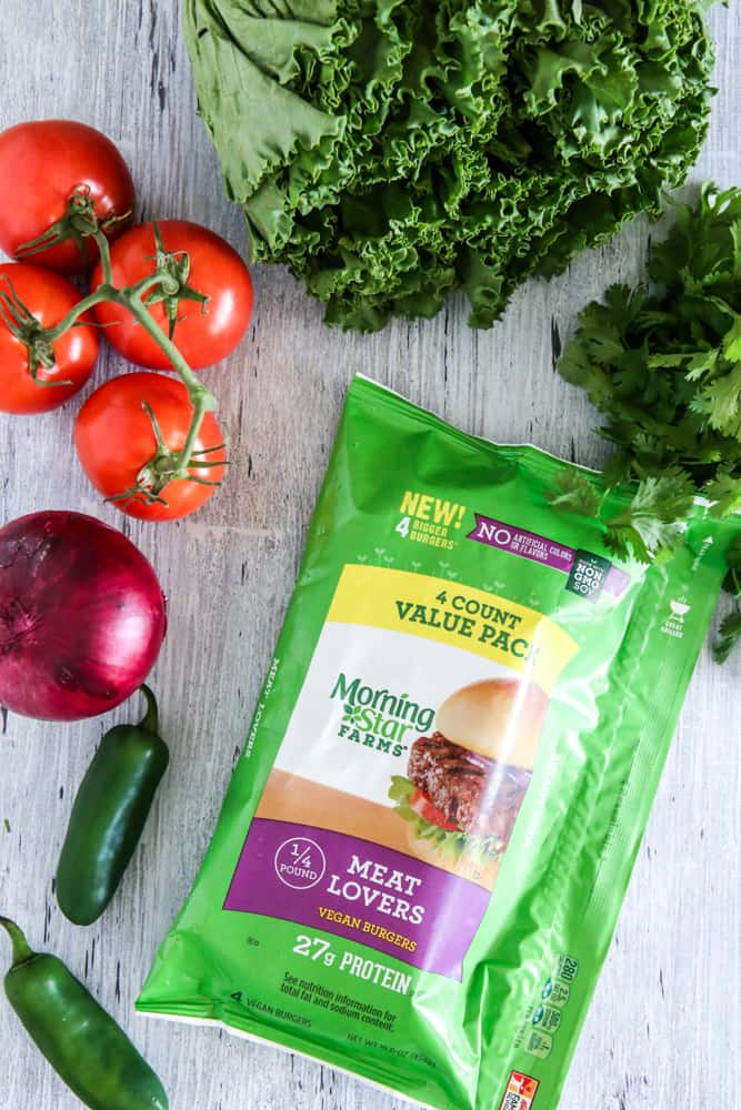 veggie burgers in bag with vegetables