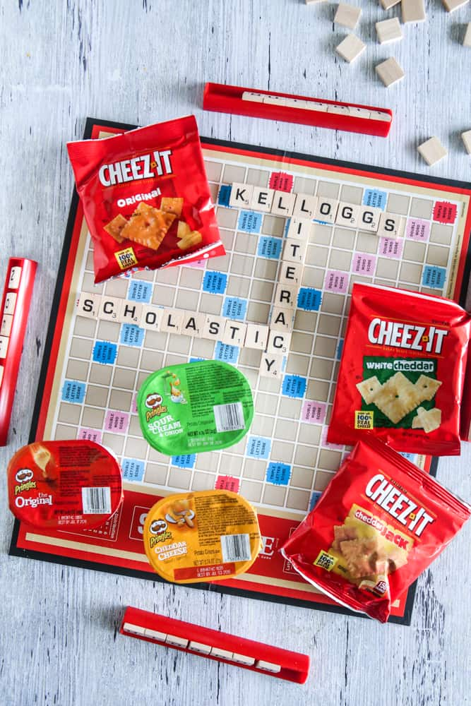 cheez'its and pringles on scrabble board