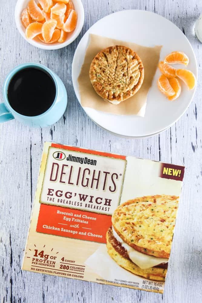 jim dean egg'wich sandwich and box with oranges grey background