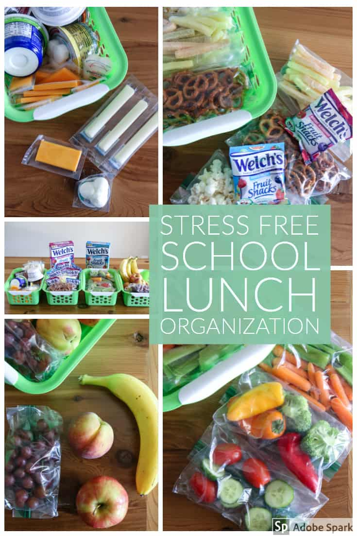 all snacks with welch's fruit snacks. stress free school lunch organization banner