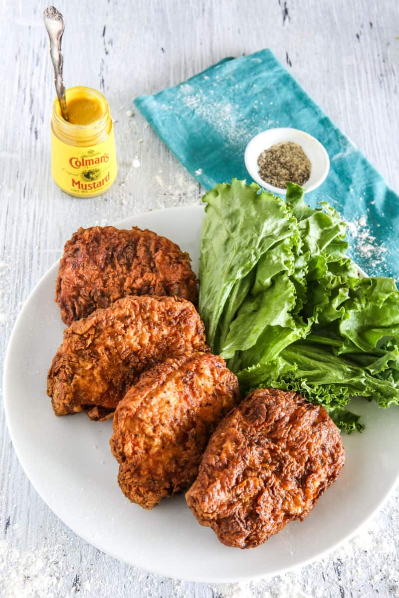 pork chops with lettuce on plate