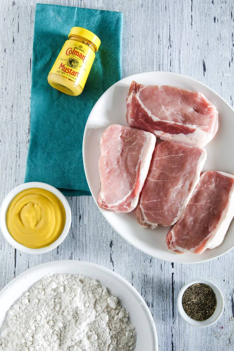 raw pork chops with coleman's mustard
