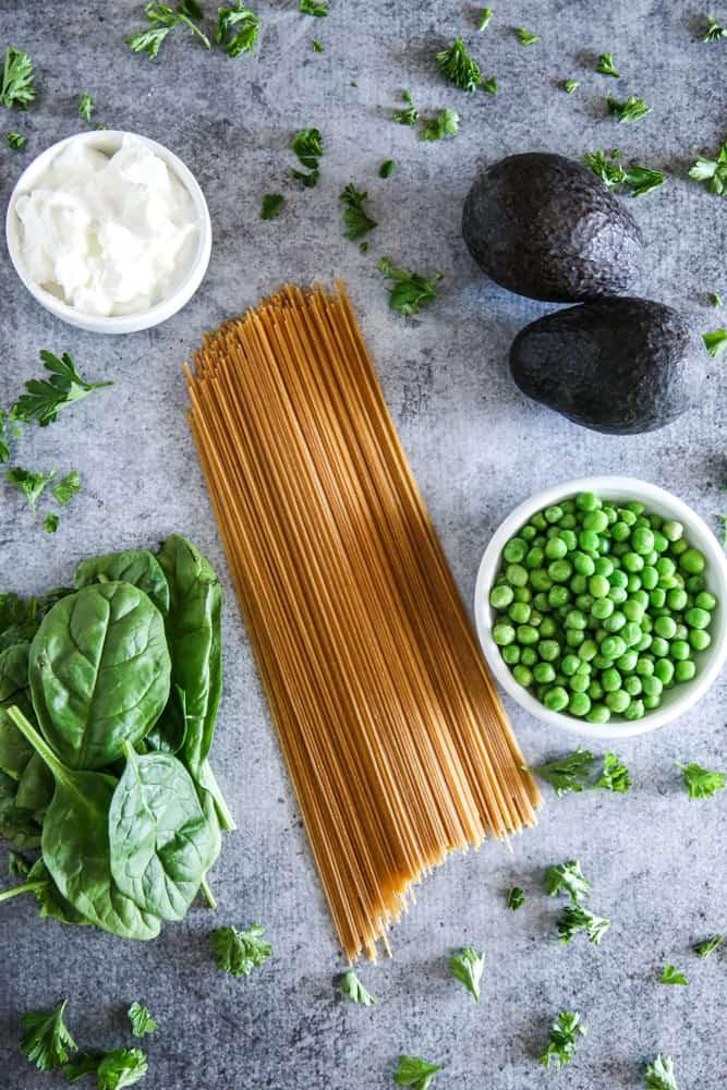 ingredients for avocado spaghetti