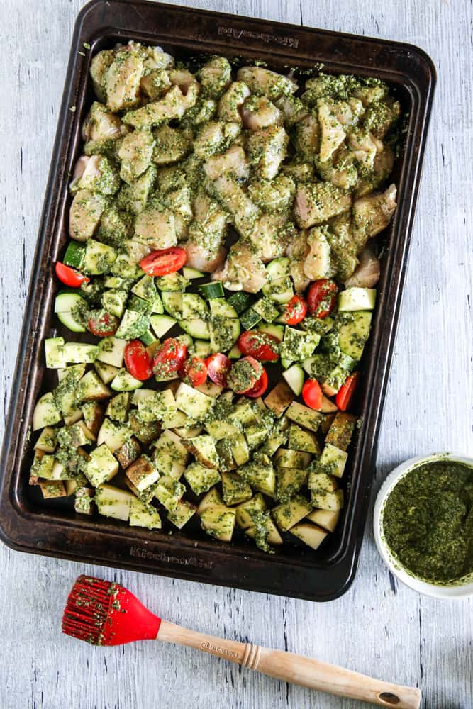 chicken and vegetables fully brushed with pesto