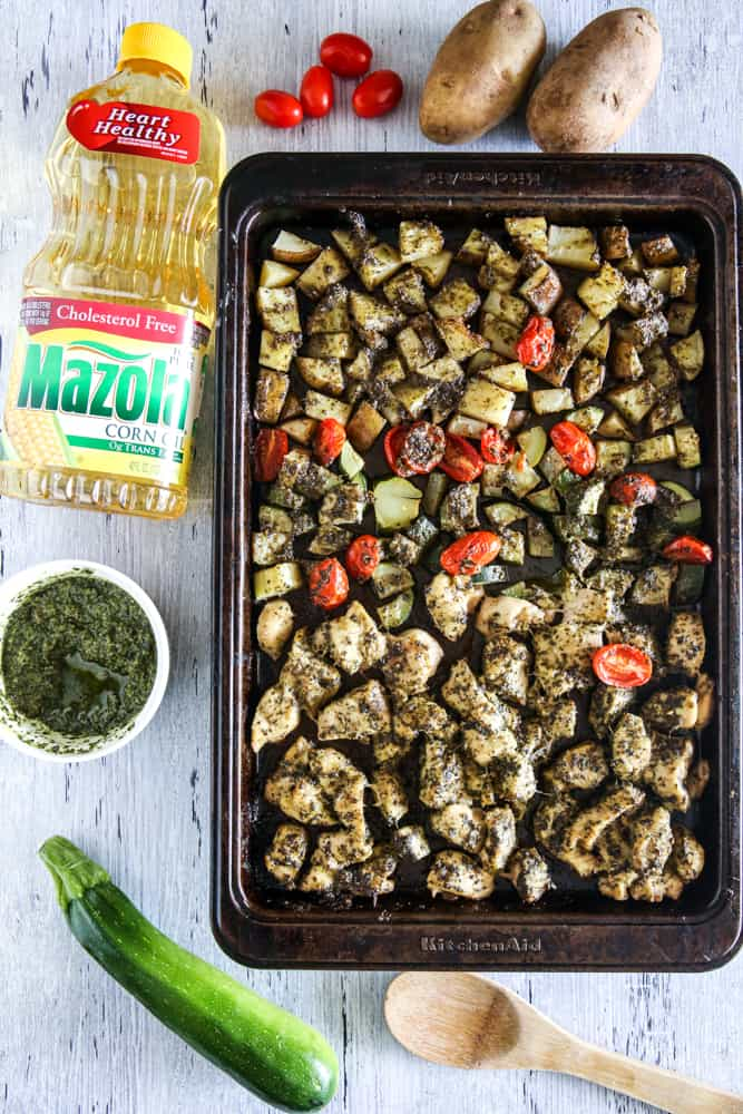 potatoes in pan with mazola corn oil