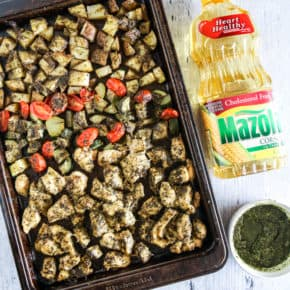 Sheet Pan Pesto Chicken and Vegetables by Eclectic Recipes