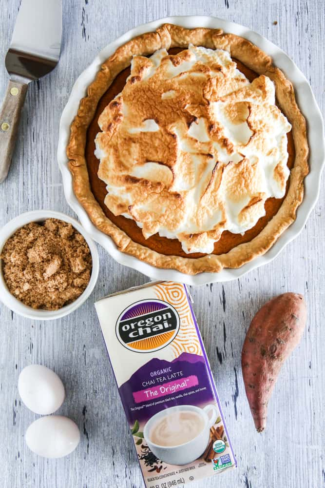 This Chai Spiced Sweet Potato Pie is perfect for fall! It's cool, creamy and delicious. It would be a great dessert for your Thanksgiving menu! #recipe #pie #sweetpotato #thanksgiving #desserts #sweetpotatopie #holiday