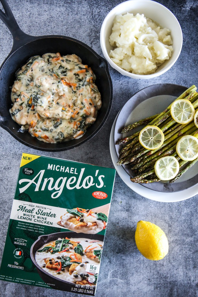 Michael Angelo's White Wine Lemon Chicken with Lemon Asparagus and Garlic Mashed Potatoes Recipe