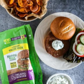 falafel burger with sweet potato chips and dip