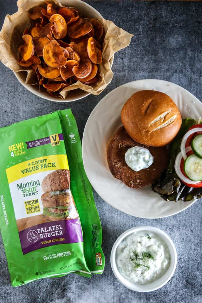 Falafel Burgers with Tzatziki Sauce and Homemade Sweet Potato Chips Recipe