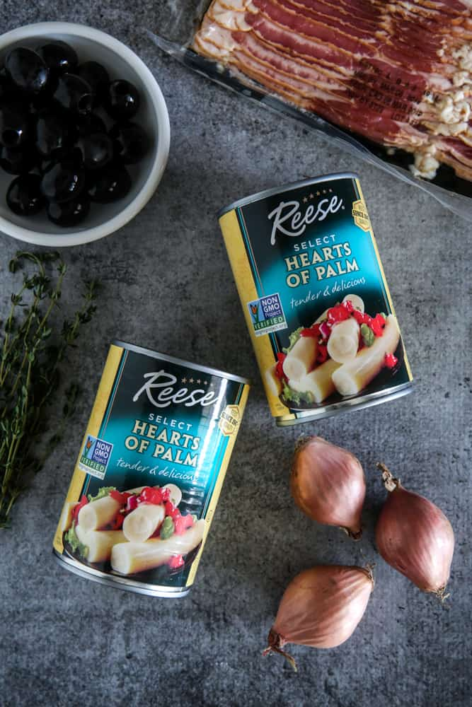 picture of cans, olives, bacon, and shallots