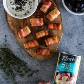 Bacon Wrapped Hearts of Palm with Caramelized Shallot and Olive Dip by Eclectic Recipes
