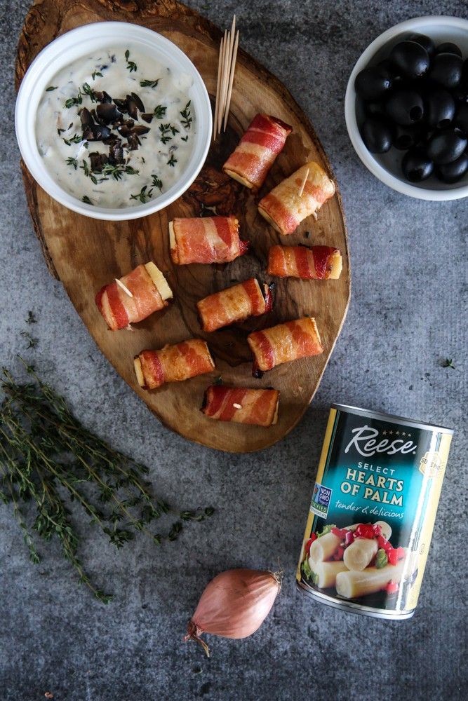 bacon wrapped hearts of palm and olives