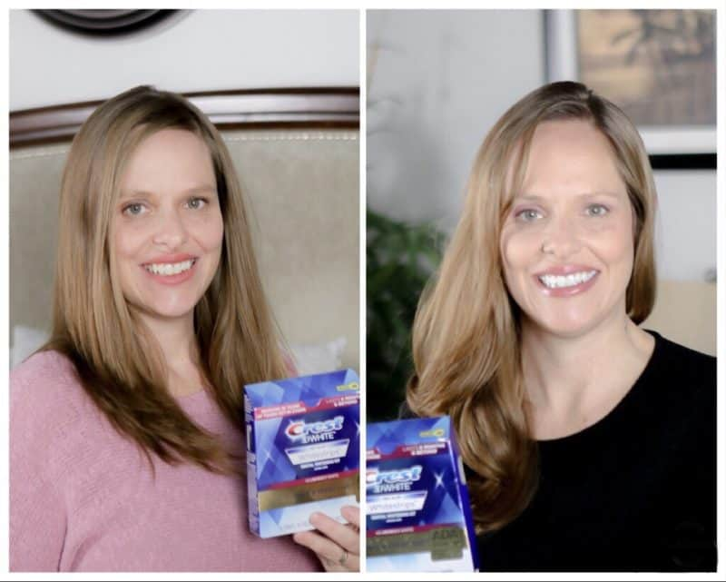two side by side images of woman holding crest white strips