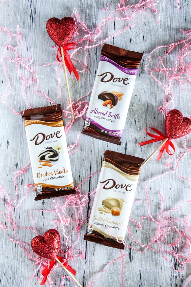 dove chocolate with pink confetti
