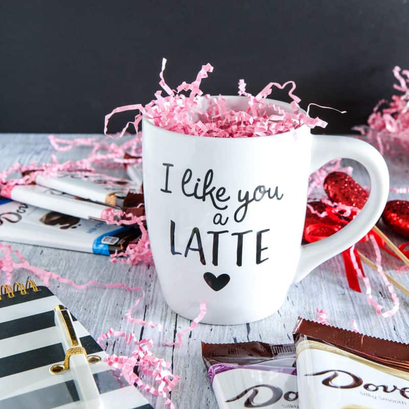 coffee mug with pink confetti