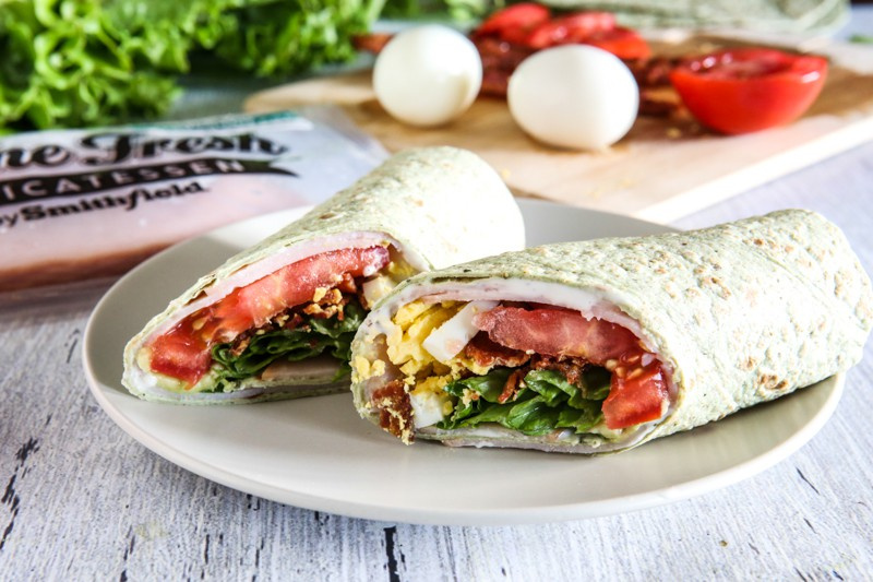 Cobb Salad Wraps with eggs in background