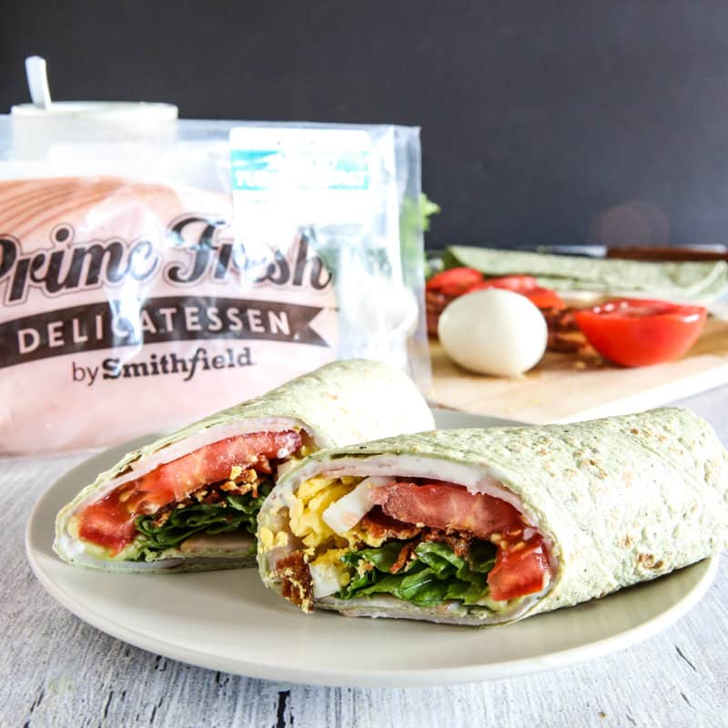 view of the inside of a cobb salad wrap