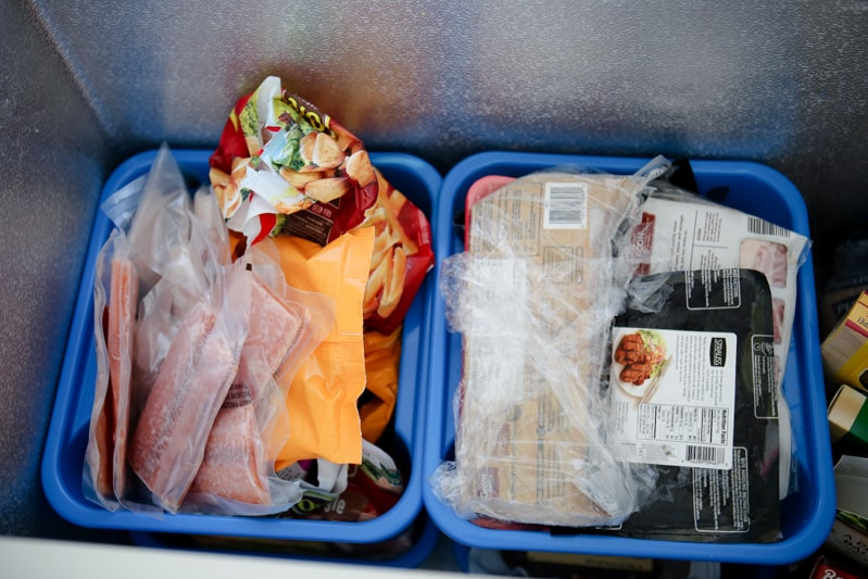 meats organized in bins in deep freezer