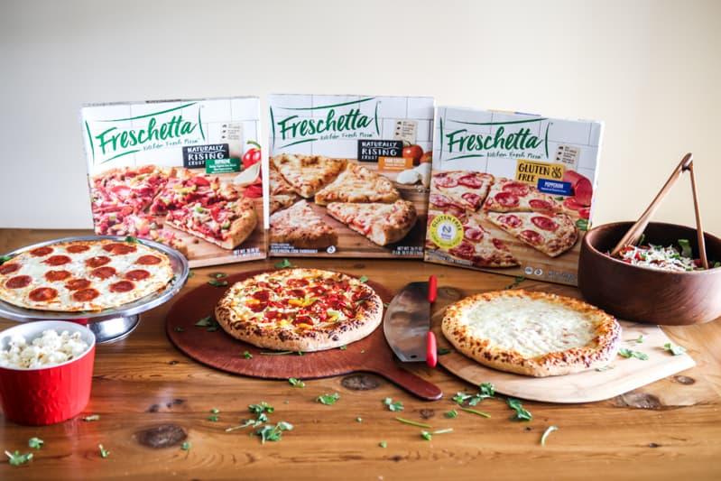 three freschetta pizza with popcorn