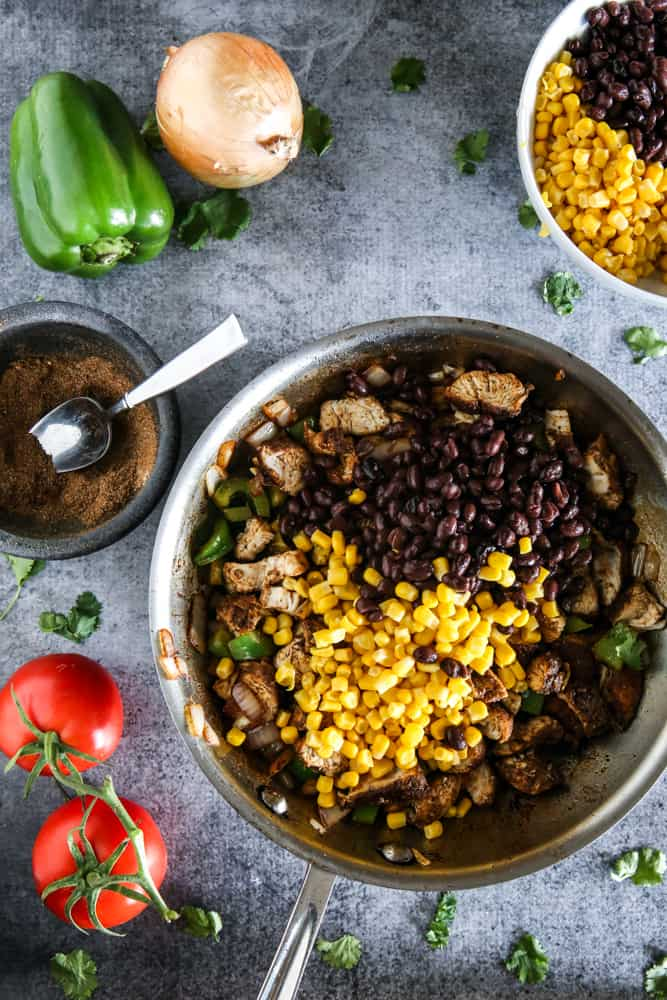 chicken with beans and corn