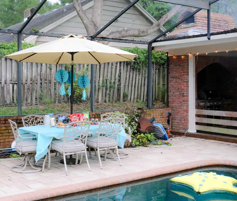 party decorated patio table by pool