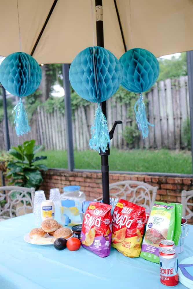party decor on pool umbrella
