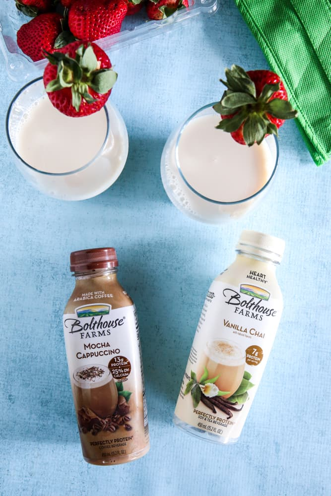 Strawberry Almond Vanilla Chai Tea Smoothie and bolthouse farms bottles