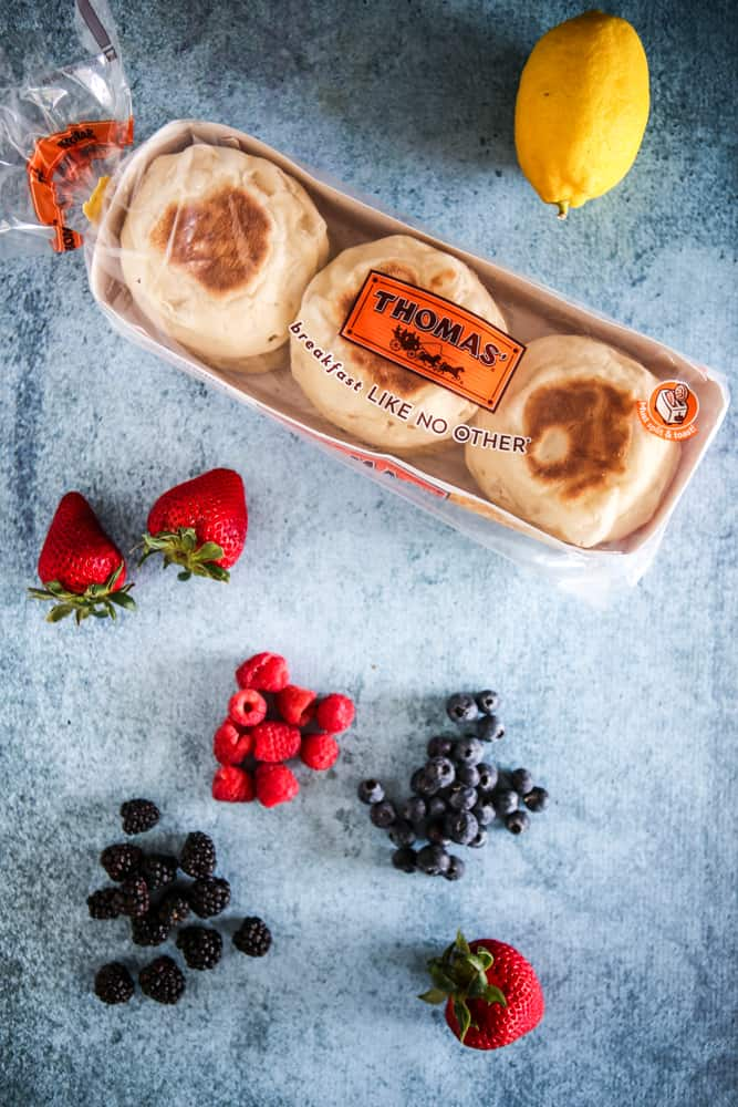 package of thomas english muffins and assorted fruits
